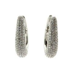 Estate 18 Karat White Gold 5.08 Carat Round Diamond Pave Hoop Earrings