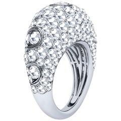 Estate 18 Karat White Gold 6.73 Carat Diamond Domed Band Ring 11 Grams