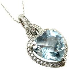 Estate 18 Karat White Gold Aquamarine and Diamond Heart Pendant Necklace