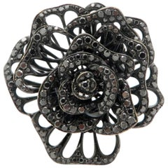 Estate 18 Karat White Gold Black Diamond Rose Flower Fashion Statement Ring