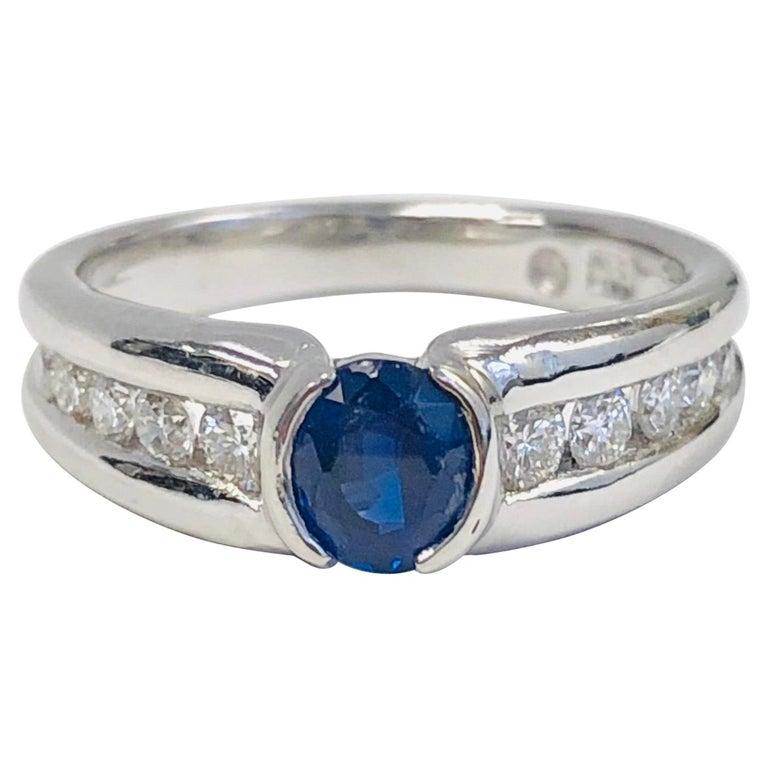 Estate 18 Karat White Gold Diamond and Burma Sapphire Ring For Sale