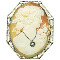 Estate 18 Karat White Gold Diamond and Shell Oval Cameo Brooch and Pendant