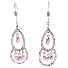 Estate 18 Karat White Gold Diamond Teardrop Pink Sapphire Chandelier Earrings
