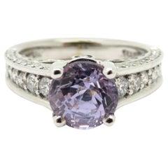 Estate 18 Karat White Gold Lavender Sapphire Diamond Engagement Ring
