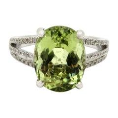 Estate 18 Karat White Gold Light Green Beryl and Diamond Fashion Ring