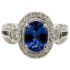Estate 18 Karat White Gold Oval Sapphire and Diamond Fashion Ring