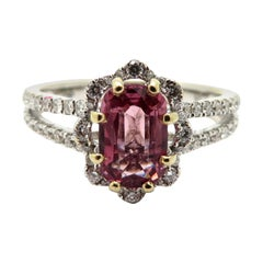 Estate 18 Karat White Gold Pink Spinel and Diamond Fashion Ring