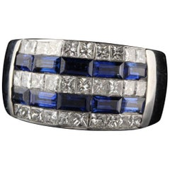 Estate 18 Karat White Gold Princess Cut Diamond and Sapphire Invisible Set Ring