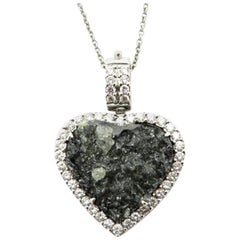 Estate 18 Karat White Gold Rough Black Diamond Heart Necklace Pendant
