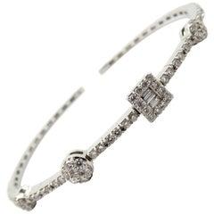 Estate 18 Karat White Gold Round and Baguette Shaped Diamond Bangle Bracelet