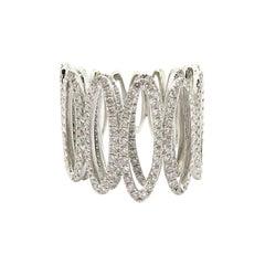 Estate 18 Karat White Gold Round Diamond Oval Fashion Statement Band Ring