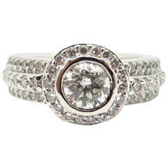 Estate 18 Karat White Gold Round Halo Pave Diamond Engagement Ring