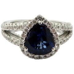 Estate 18 Karat White Gold Sapphire and Diamond Fashion Statement Ring
