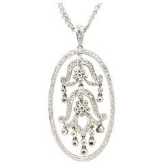 Estate 18 Karat White Gold Tulip Flower Round Diamond Fashion Necklace Pendant