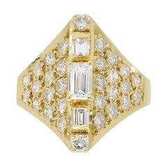 Estate 18 Karat Yellow Gold and Diamond Ring
