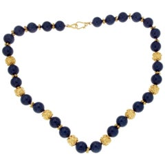 Estate 18 Karat Yellow Gold and Lapis Beads Out Standing Necklace