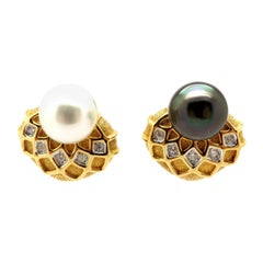 Estate 18 Karat Yellow Gold Black and White Pearl Diamond Fashion Earrings