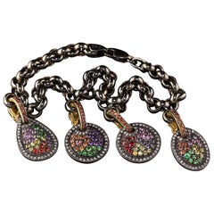 Estate 18 Karat Yellow Gold Black Rhodium Diamond and Gemstone Charm Bracelet