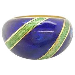 Estate 18 Karat Yellow Gold Blue and Green Enamel Domed Ring