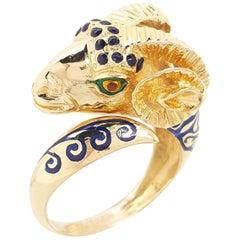Estate 18 Karat Yellow Gold Blue and Green Enamel Ram Ring