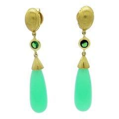 Estate 18 Karat Yellow Gold Chrysoprase and Tsavorite Garnet Dangle Earrings