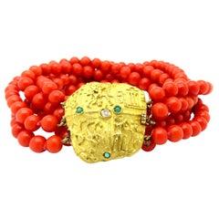 Estate 18 Karat Yellow Gold Egyptian Coral, Jade and Diamond Beaded Bracelet
