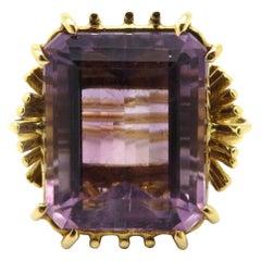 Estate 18 Karat Yellow Gold Emerald Cut Amethyst Fashion Ring