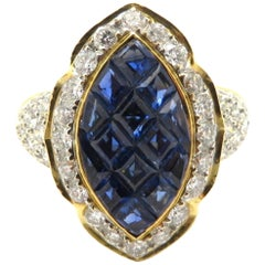 Estate 18 Karat Yellow Gold Invisible Set Sapphire and Pave Diamond Halo Ring