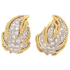 Estate 18 Karat Yellow Gold Leaf Diamond Earrings