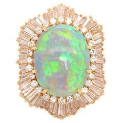 Estate 18 Karat Yellow Gold Opal and Diamond Ballerina Style Ring