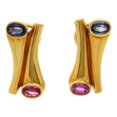 Estate 18 Karat Yellow Gold Pink and Blue Sapphire Fashion Earrings