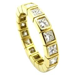 Estate 18 Karat Yellow Gold Princess Cut Diamond Eternity Band Fashion Ring