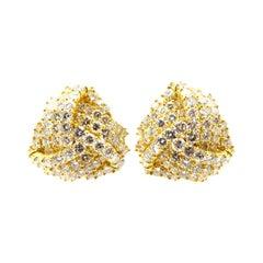 Estate 18 Karat Yellow Gold Round Diamond Love Knot Clip-On Earrings