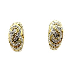 Estate 18 Karat Yellow Gold Round Diamond Swirl Fashion Hoop Earrings