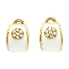 Estate 18 Karat Yellow Gold Round Pave Diamond Flower White Enamel Hoop Earrings