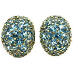 Estate 18 Karat Yellow Gold Sky Blue Topaz Oval Cluster 18 Karat Gold Earrings