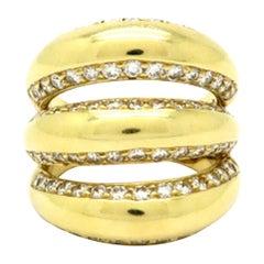 Estate 18 Karat Yellow Gold Three-Row Pave Dome Diamond Band Ring
