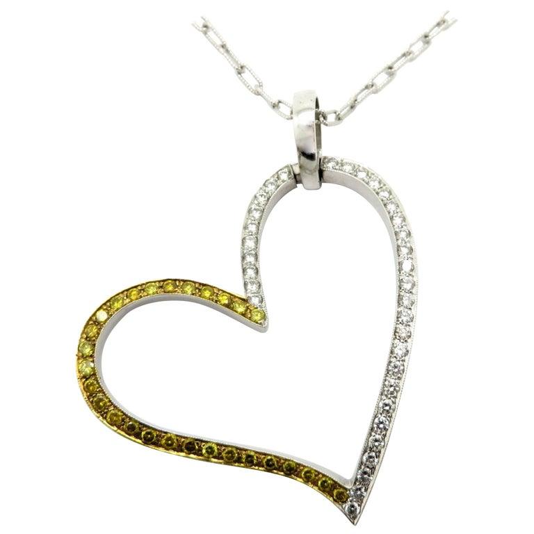 980ca19fc0d Estate 18 Karat Yellow Gold White & Yellow Diamond Large Heart Pendant  Necklace