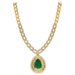Estate 18K GIA Certified 22.39 CTW Colombian Emerald & Diamond Designer Necklace