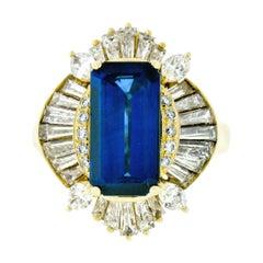 Estate 18k Gold 6.80ctw AGL Emerald Cut Sapphire Diamond Ballerina Cocktail Ring