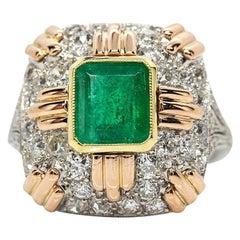 Estate 18 Karat Gold and Platinum Emerald and Diamonds Ring