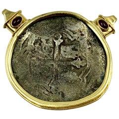Estate 18K Gold, Ruby 17th Century Santa Margarita Silver 8 Reales Coin Pendant