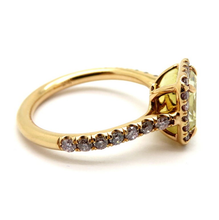 Women's Estate 18 Karat Rose Gold Pink and Yellow Radiant Cut Diamond Halo Ring For Sale