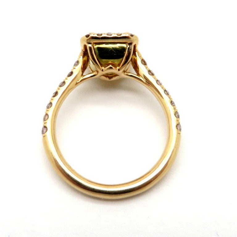 Estate 18 Karat Rose Gold Pink and Yellow Radiant Cut Diamond Halo Ring For Sale 1