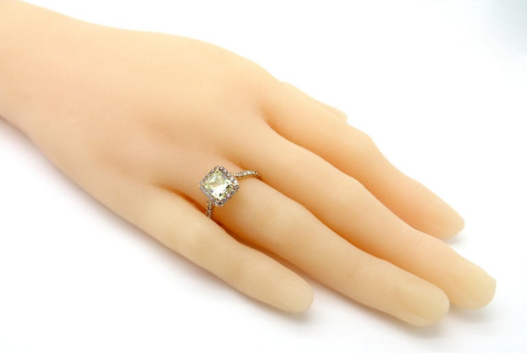 Estate 18 Karat Rose Gold Pink and Yellow Radiant Cut Diamond Halo Ring For Sale 2