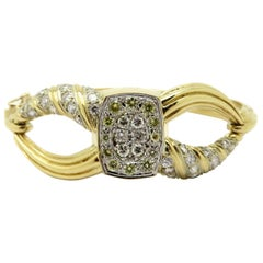 Estate 18K Two-Tone Fancy Yellow and White Diamond Bypass Round Bangle Bracelet