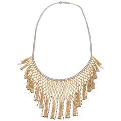 Estate 18k Two Tone Gold Italian Net Necklace