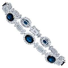 Estate 18K White Gold 10.62 CTW Sapphire & Diamond Tennis Bracelet 14.71 Grams