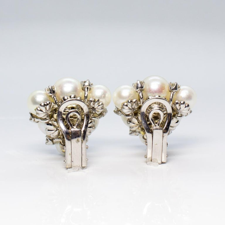 Estate 18 Karat White Gold Carvin French Pearl and Diamond Cluster Earrings In Excellent Condition For Sale In Scottsdale, AZ
