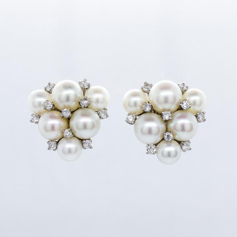Women's Estate 18 Karat White Gold Carvin French Pearl and Diamond Cluster Earrings For Sale